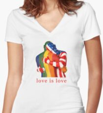 Love Is Love - Rainbow Pride Women's Fitted V-Neck T-Shirt