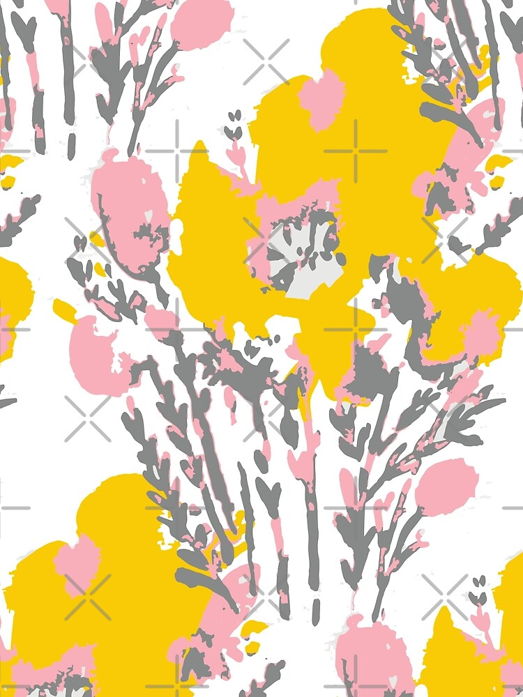 Abstract Flowers - Yellow Pink by whya