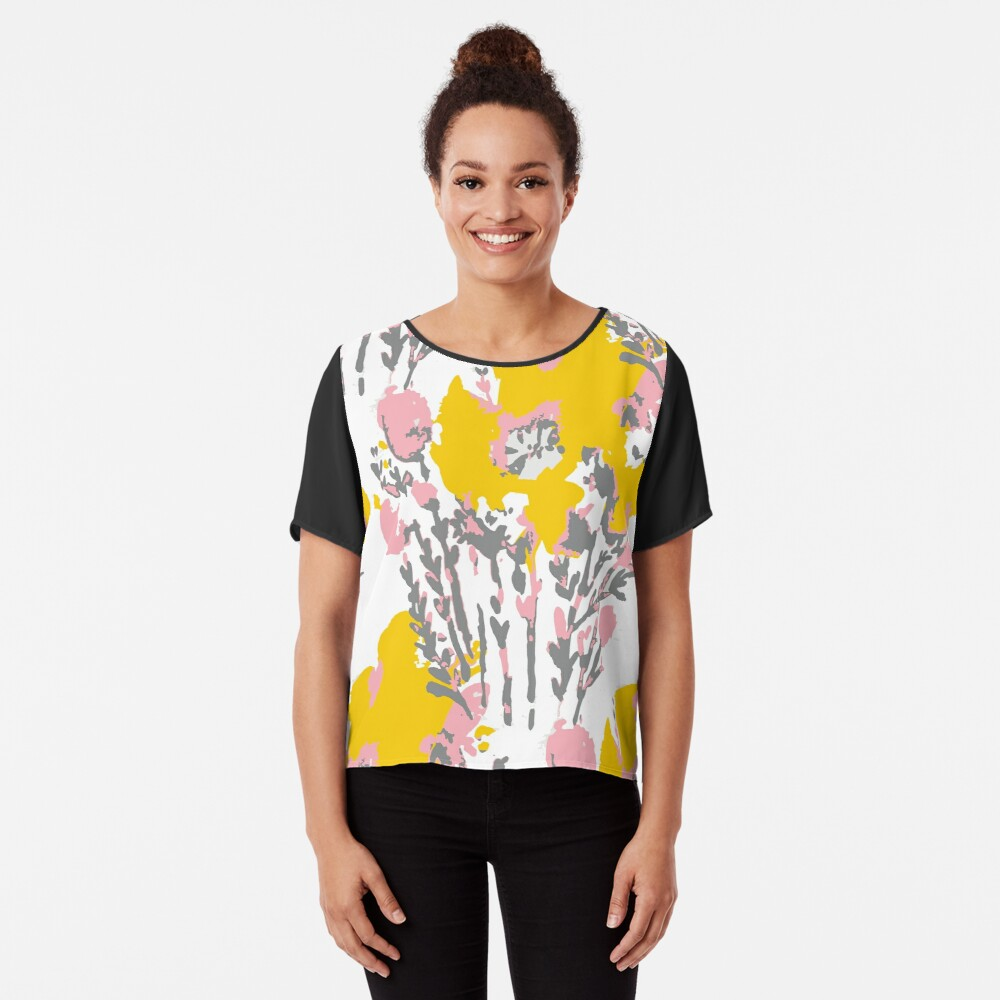 Abstract Flowers - Yellow Pink Chiffon Top