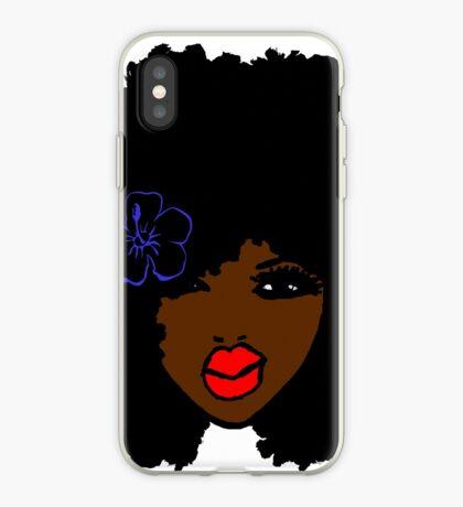 Brownskin lockiges Afro-natürliches Haar-Blume iPhone-Hülle & Cover