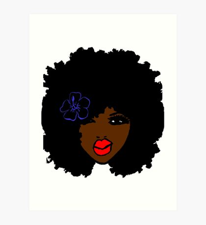 Brownskin curly Afro Natural Hair Flower  Art Print