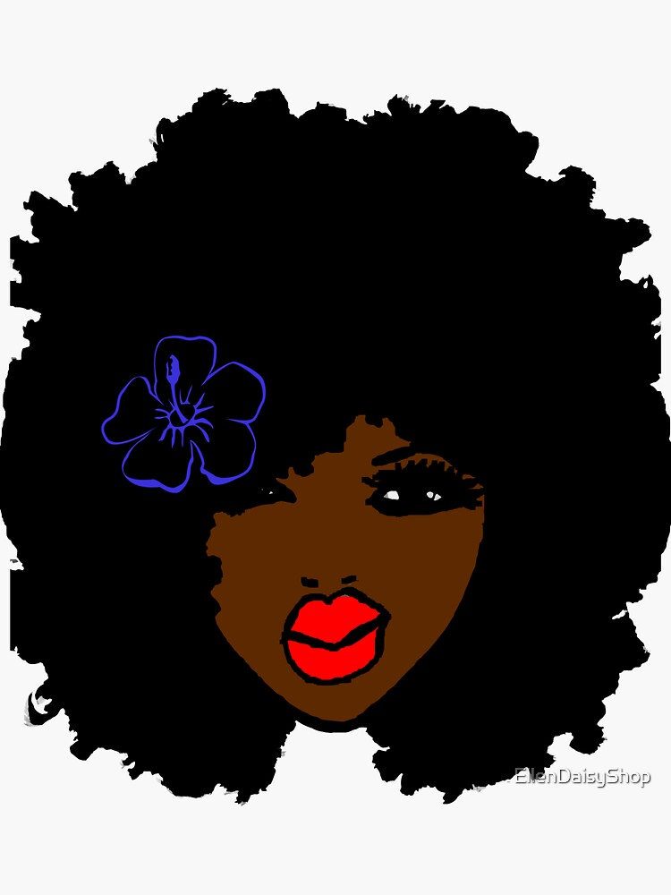 Brownskin curly Afro Natural Hair Flower  by EllenDaisyShop