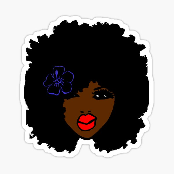 Brownskin curly Afro Natural Hair Flower  Sticker