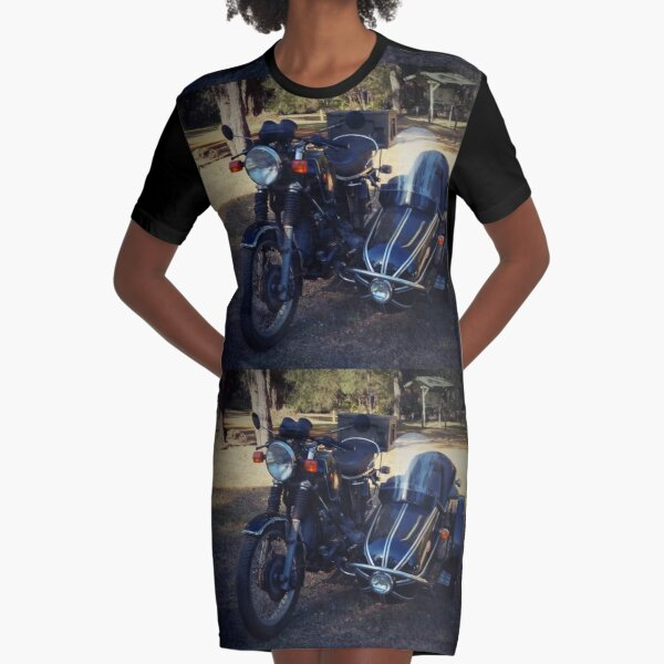 Old motorbike and sidecar Graphic T-Shirt Dress
