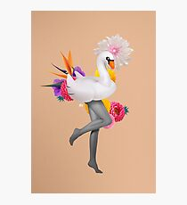 White Swan Girl Pepe Psyche Gold Pink  Flower Black Photographic Print