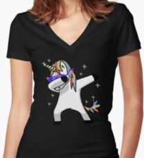 Camiseta entallada de cuello en V Dabbing Unicorn Shirt Dab Hip Hop Funny Magic