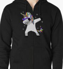 Dabbing Unicorn Shirt Dab Hip Hop Funny Magic Zipped Hoodie