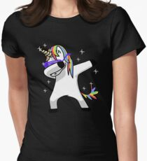 Dabbing Unicorn Shirt Dab Hip Hop Funny Magic Women's Fitted T-Shirt