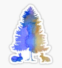 Rabbits under a fir Sticker