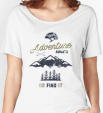 Vintage Adventure Typography Label Women's Relaxed Fit T-Shirt
