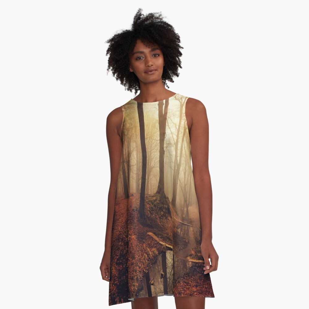 Forest creek at sunrise in fall A-Line Dress
