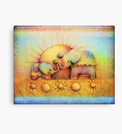 rainbow elephant blessing Canvas Print