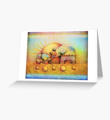 rainbow elephant blessing Greeting Card