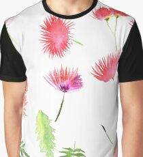 Mimosa Albizia julibrissin foliage and flowers Graphic T-Shirt