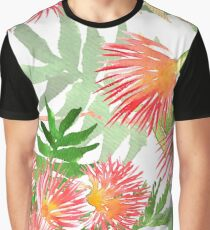 Pattern Mimosa Albizia julibrissin foliage and flowers Graphic T-Shirt