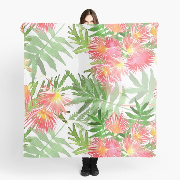 Pattern Mimosa Albizia julibrissin foliage and flowers Scarf
