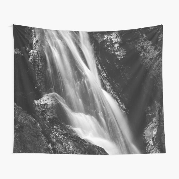 Black and white waterfall in Hell Gorge, Slovenia Tapestry