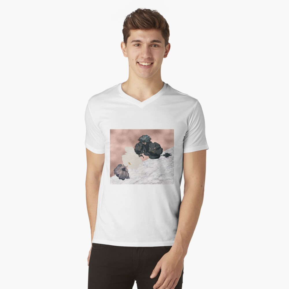 Floral Marmor Roségold T-Shirt mit V-Ausschnitt