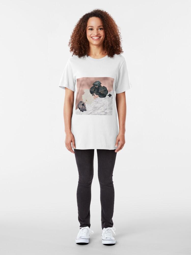 Alternative Ansicht von Floral Marmor Roségold Slim Fit T-Shirt