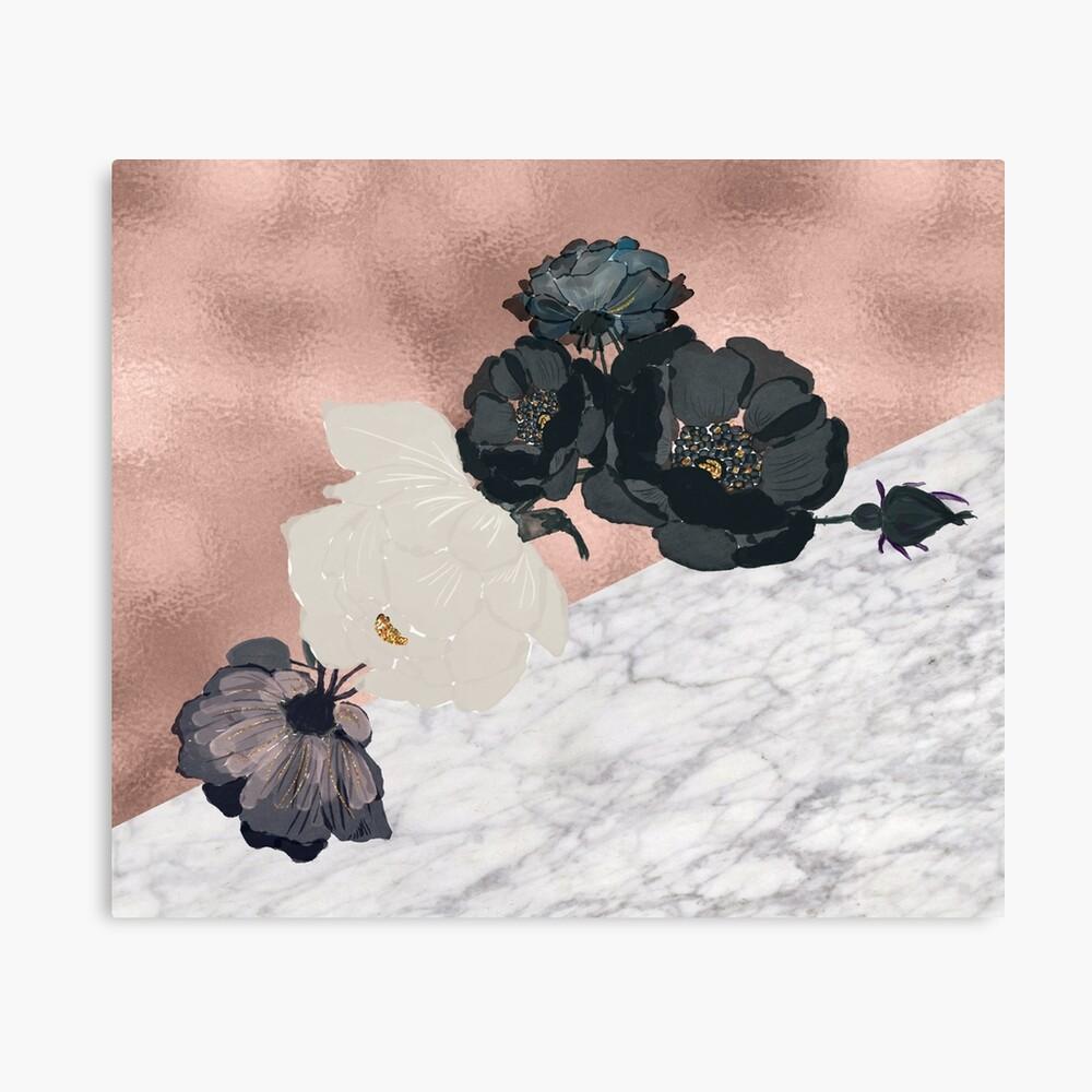 Floral Marmor Roségold Leinwanddruck