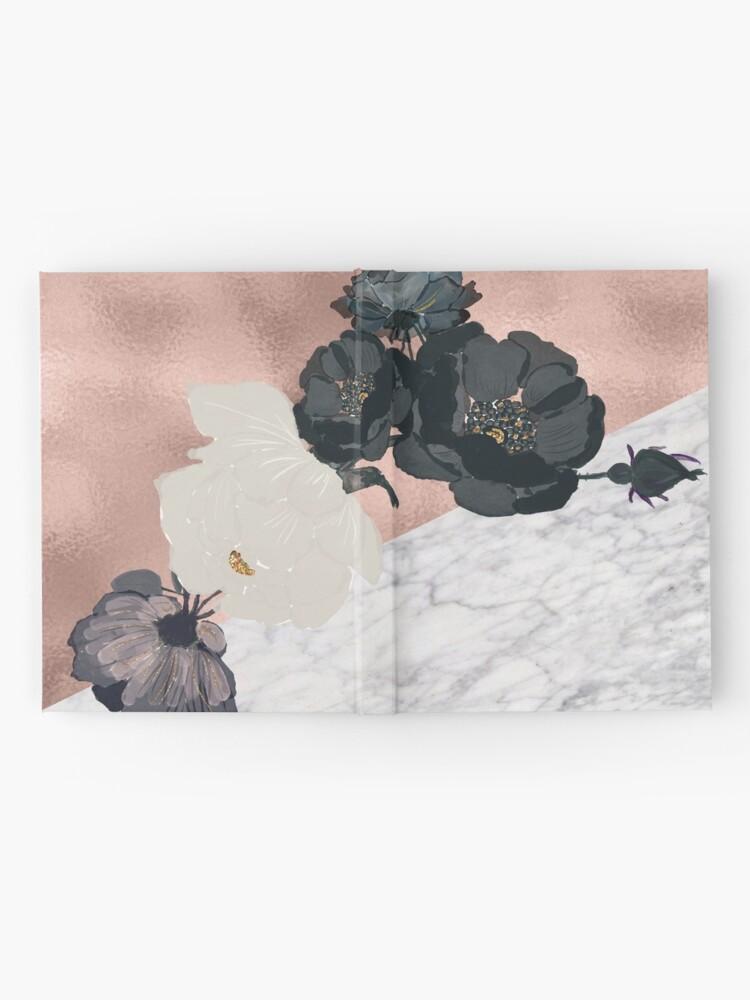 Alternative Ansicht von Floral Marmor Roségold Notizbuch
