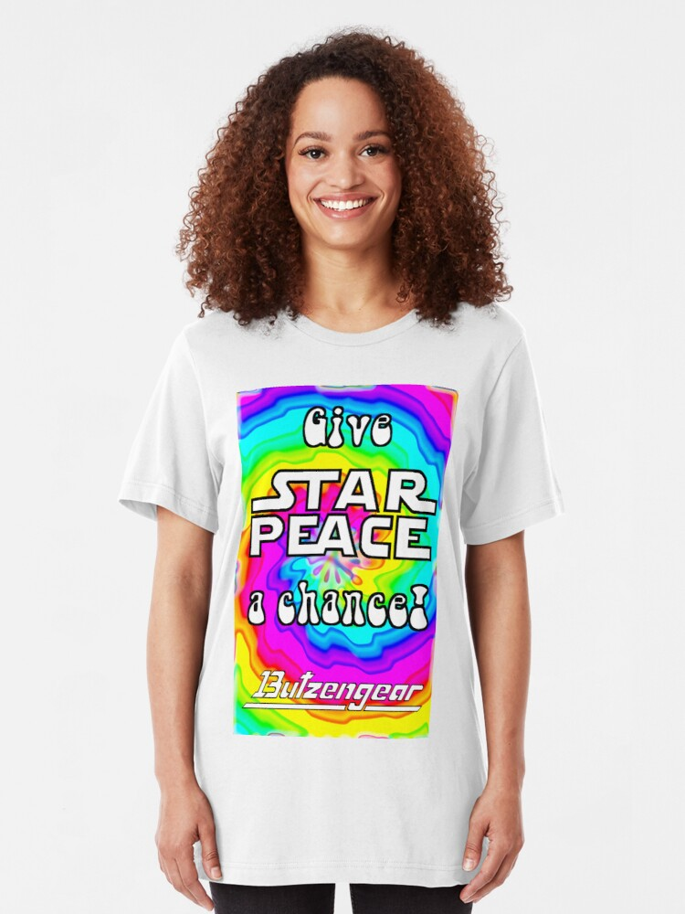 Alternate view of Give Star Peace A Chance! Slim Fit T-Shirt