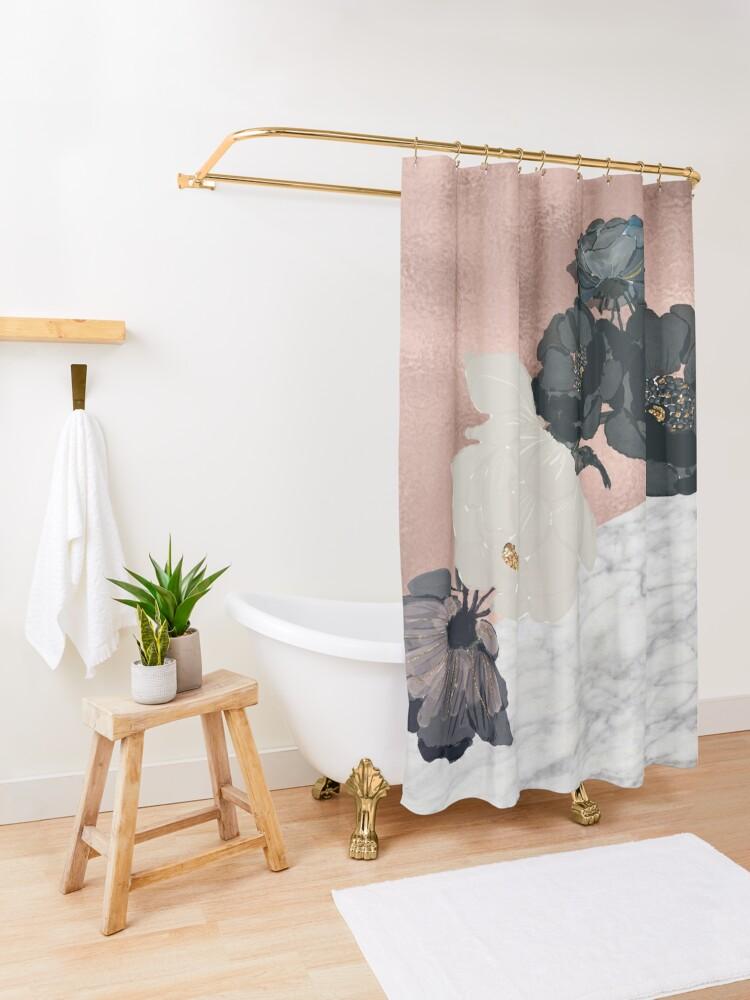 Alternative Ansicht von Floral Marmor Roségold Duschvorhang
