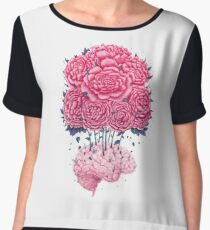 Creative Brains with peonies  Women's Chiffon Top