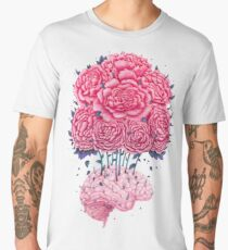 Creative Brains with peonies  Men's Premium T-Shirt