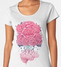 Creative Brains with peonies  Women's Premium T-Shirt