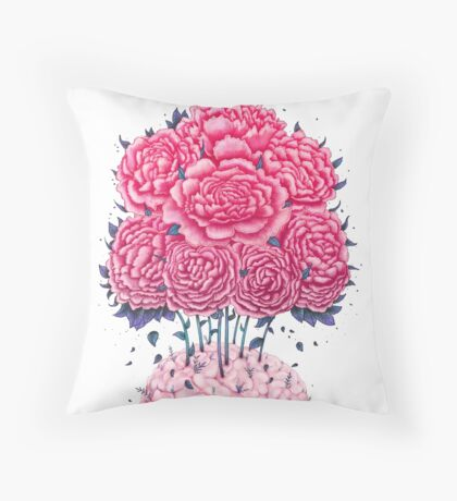 Creative Brains with peonies  Throw Pillow