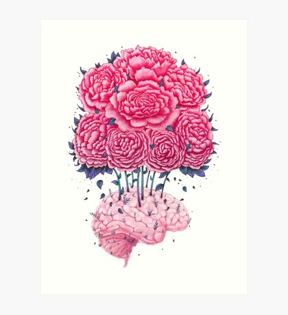 Creative Brains with peonies  Art Print