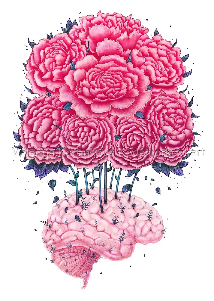 Creative Brains with peonies  by Valeriya Korenkova Kodamorkovkart