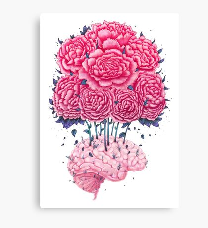 Creative Brains with peonies  Canvas Print