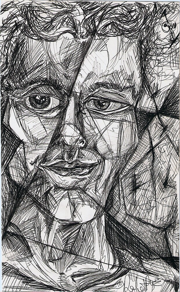 Fractured Self-portrait (Pen and Ink)- by Robert Dye