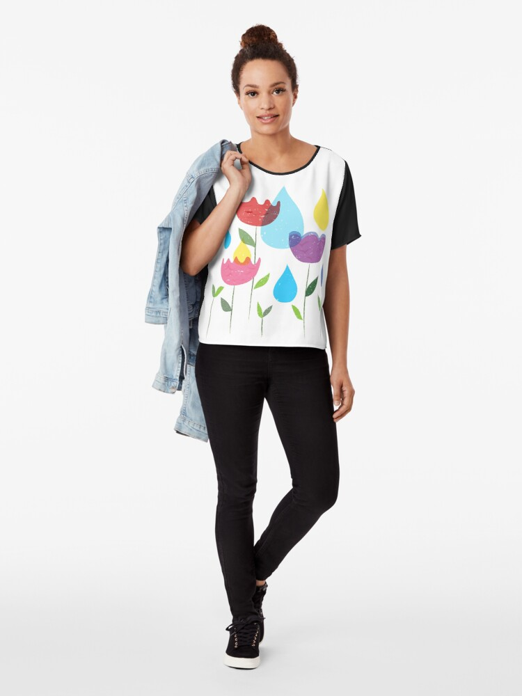 Alternate view of Colorful Tulips Chiffon Top
