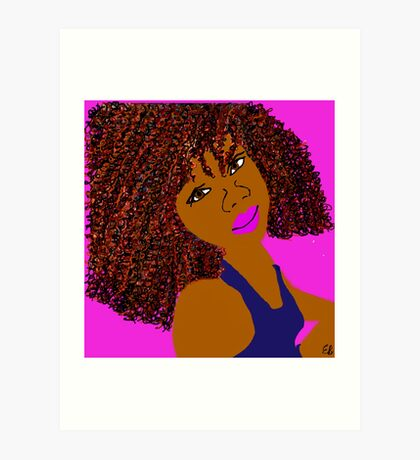Brown Curly Natural Hair Diva Queen Pink Lips Art Print