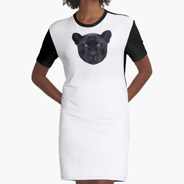 Illustrated portrait of Black Panther.  Graphic T-Shirt Dress