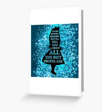 Alice In Wonderland Have I Gone Bonkers Quote - Blues Watercolor Splatter Greeting Card