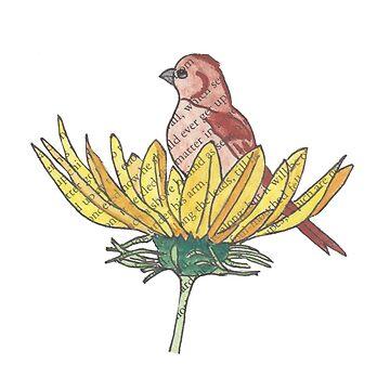 Sunflower Bird Watercolor by peaceofpistudio