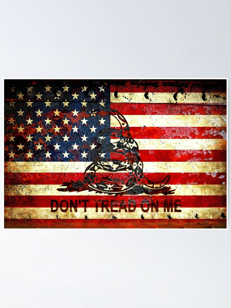 Custom Dont Tread On Me American Flag Long Wallet with a Distressed United States Flag