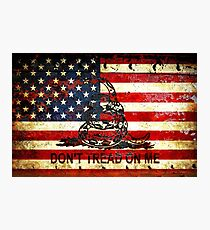 American Flag And Viper On Rusted Metal Door - Don't Tread On Me Photographic Print