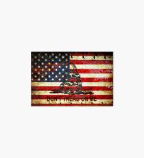 American Flag And Viper On Rusted Metal Door - Don't Tread On Me Art Board
