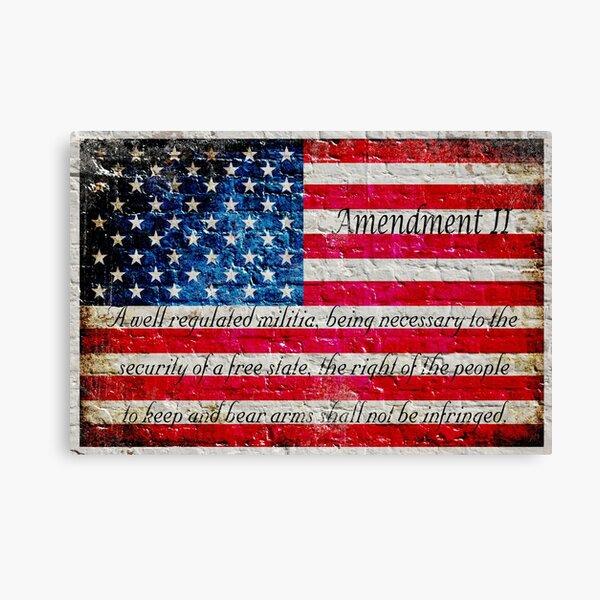 Distressed American Flag And Second Amendment On White Bricks Wall Canvas Print