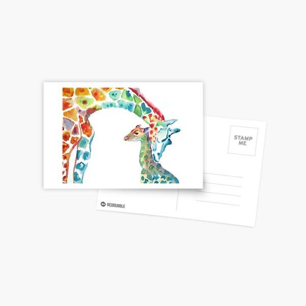 Giraffe Mommy and Baby Postcard