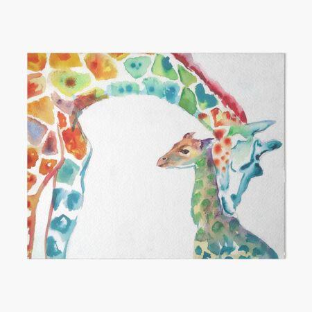Giraffe Mommy and Baby Art Board Print