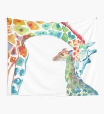 Giraffe Mommy and Baby Wall Tapestry
