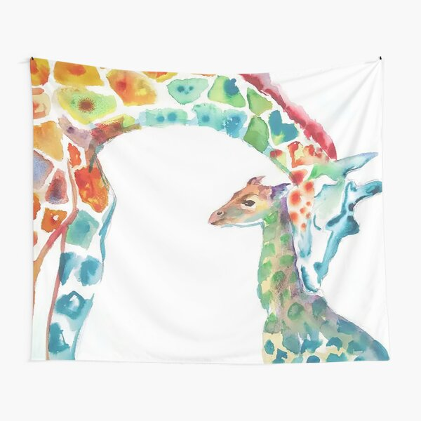Giraffe Mommy and Baby Tapestry