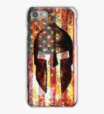 American Flag And Spartan Helmet On Rusted Metal Door - Molon Labe iPhone Case/Skin