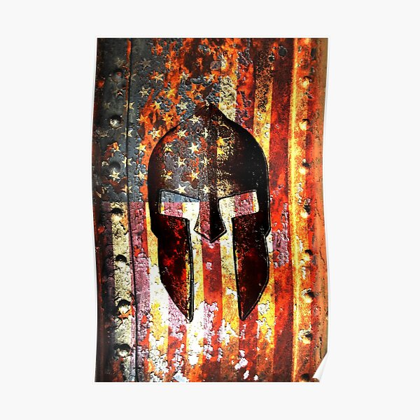 American Flag And Spartan Helmet On Rusted Metal Door - Molon Labe Poster